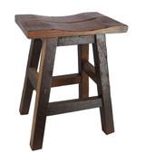 """24"""" Barnwood Bar Stool Saddle Seat"""