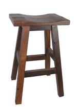 """30"""" Barnwood Bar Stool Saddle Seat"""