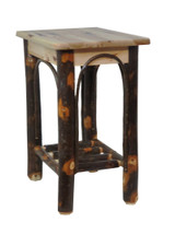 Quick Ship! Rustic Solid Hickory End Table Night Stand with Hickory Curls