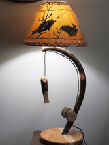 Quick Ship Fishing Pole Table Lamp made from Bent Hickory with Fish Shade