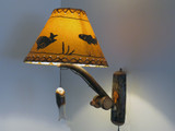 Quick Ship Fishing Pole Wall Lamp made from Bent Hickory with Fish Shade