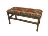 Barnwood Upholstered Jumbo Bench with Spindles Multiple Fabrics
