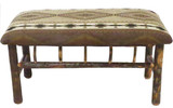 Rustic Hickory Upholstered Jumbo Bench with Spindles Multiple Fabrics