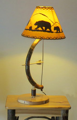 Quick Ship Archery Bow & Arrow Table Lamp made from Bent Hickory with Bear Shade