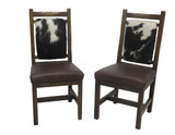 Set of 2 -Barnwood Upholstered Dining Chairs with Leather Seat and Hair on Hide Back