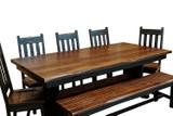 7 Piece Farmhouse Black Trestle Table Dining Set with a 2-Tone Finish