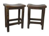 """Set of 2 -24"""" or 30"""" Barnwood Bar Stool Straight Leg Saddle Seats"""