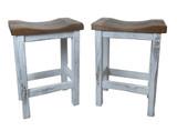"""Set of 2 - 24"""" or 30"""" Distressed 2-Tone Barnwood Bar Stool Saddle Seats"""
