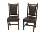 Set of 2 -Barnwood Upholstered Dining Chairs with Leather Seat and Back
