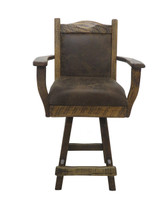 """24"""" or 30"""" Barnwood Swivel Bar Stool with Upholstered Seat & Back with Arms"""