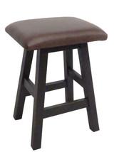 "Black Rub Through Barnwood Bar Stool 24"" or 30"" Real Leather Upholstered Seat"