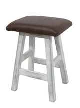 """Distressed White Barnwood Bar Stool 24"""" or 30"""" Real Leather Upholstered Seat"""