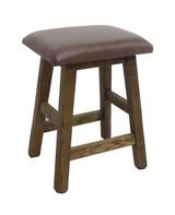 """Barnwood Bar Stool 24"""" or 30"""" Real Leather Upholstered Seat -Walnut Finish"""