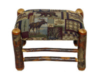 Rustic Hickory Ottoman with multiple fabrics