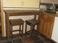 Farm House Distressed White Glazed Sofa Table Breakfast Bar with 2 Barnwood Bar Stools