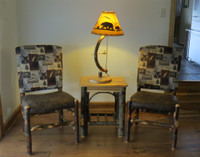 Set of 2 Rustic Hickory Dining Club Chairs