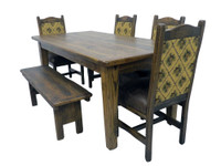 Rustic Distressed Solid Oak Dining Table, 4 Chair and Bench Set