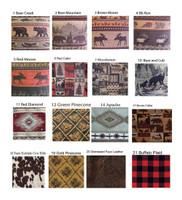 Rustic Barnwood Ottoman with multiple fabrics