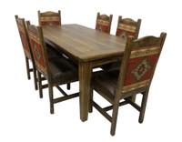 Quick Ship! Rustic Barn wood Dining Table and 6 Chair Set with Red Diamond Fabric