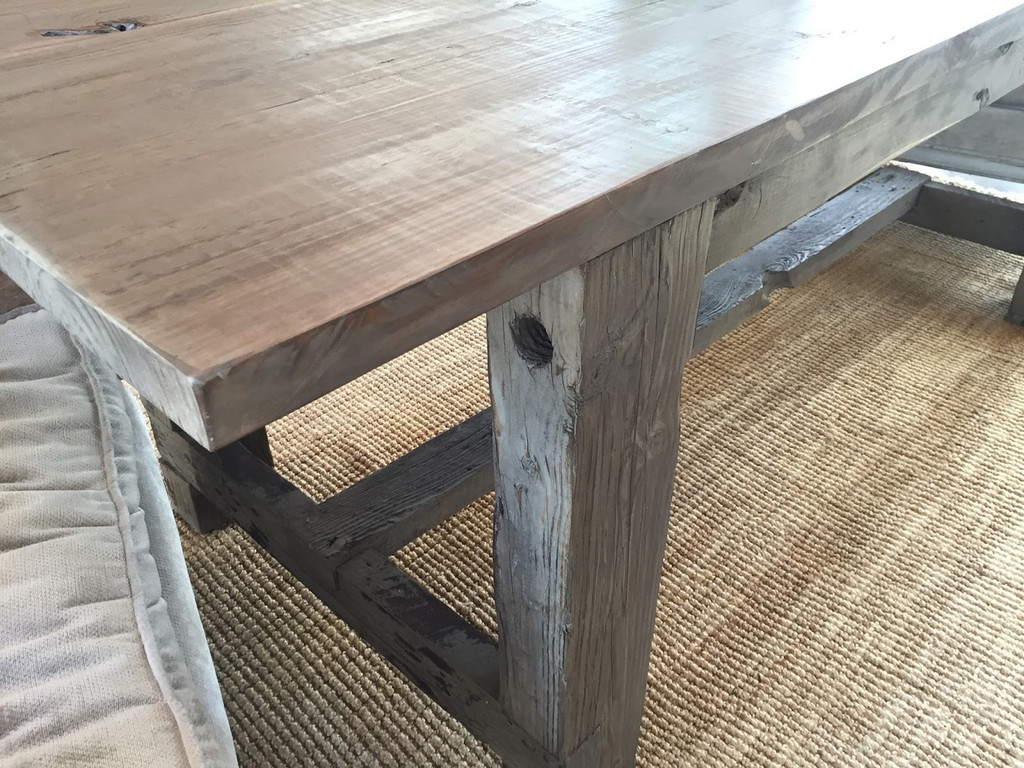Reclaimed Wood Trestle Farm Table