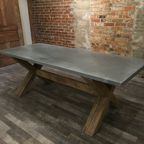 Reclaimed Wood X-Leg Table