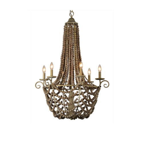 6 Light - Wood & Metal Chandelier