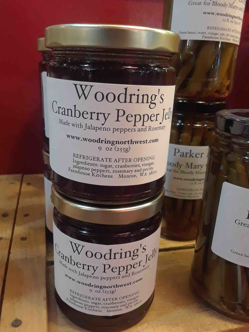 Perfect for fall! Our Cranberry Pepper Jelly is tart and sweet with a medium heat. It's great with turkey, chicken, pork, or with cream cheese and crackers!