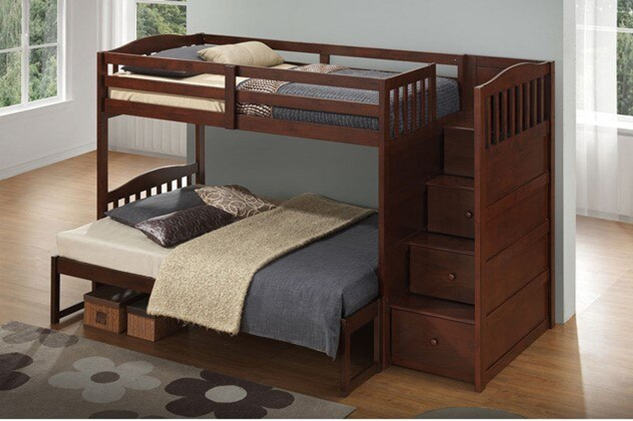 Picture of: Gasley Twin Over Twin Bunk Bed W Right Facing Storage Steps Brown