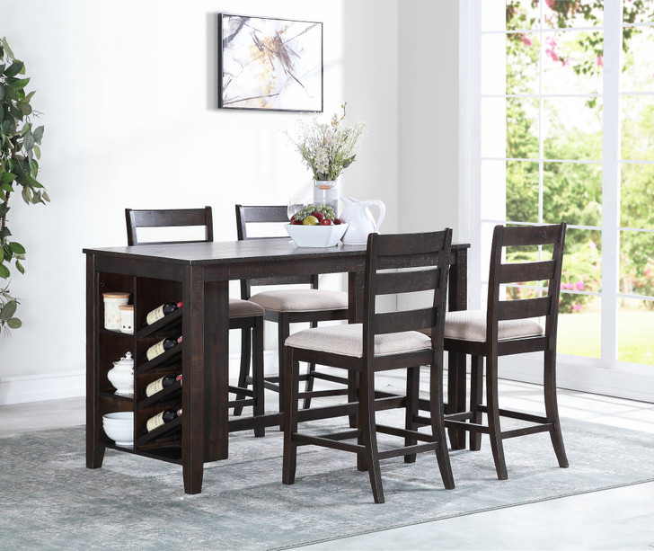 Eliotte Pub Table Set w/ Wine Rack - 5 Pieces