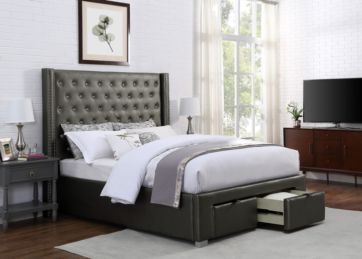 Paisley Bedframe w/ STORAGE - Queen Size Bed