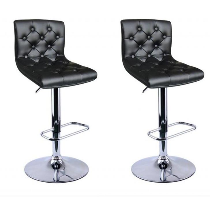 Tufted Black Adjustable Barstools - Set of 2