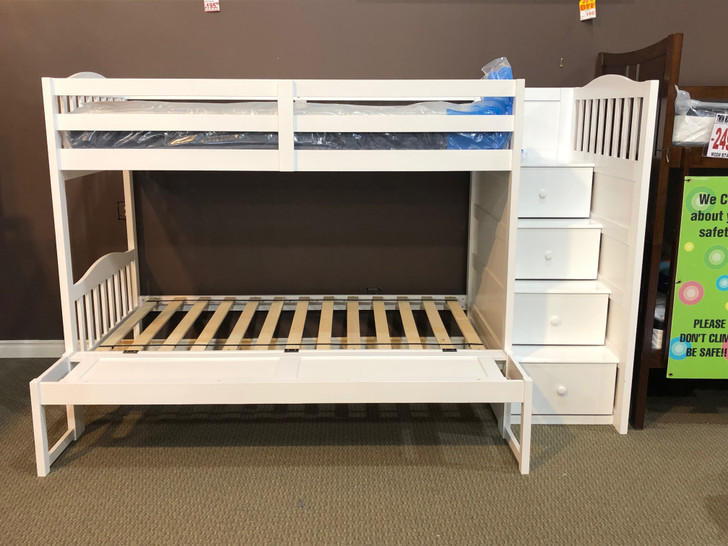 Gasley Twin over Twin Bunk Bed w/ Right Facing Storage Steps - White