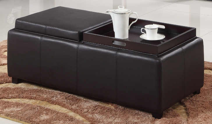 Double Tray STORAGE Ottoman - Black