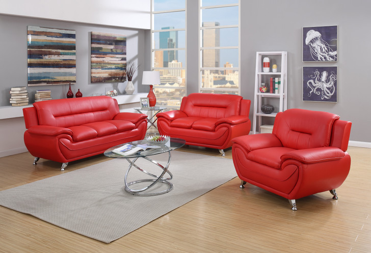 Esla Red 3 Pieces Sofa Set - Sofa, Loveseat and Chair