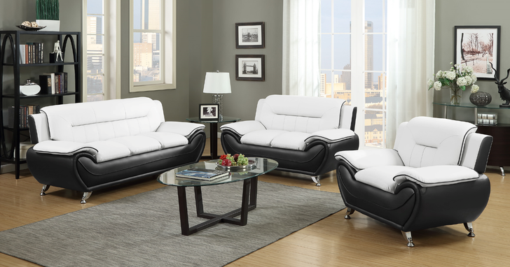 Esla Black/White 3 Pieces Sofa Set - Sofa, Loveseat and Chair