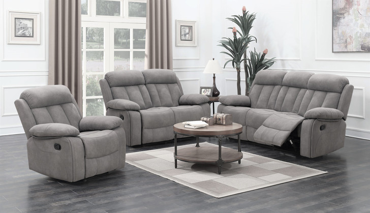 3 Pcs. Grey Fabric Recliner Sofa Set