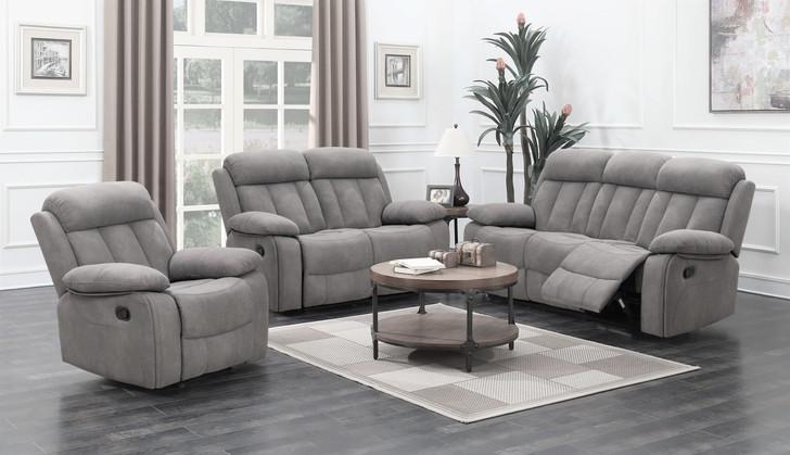 3 Pcs. Grey Fabric Recliner Sofa Set