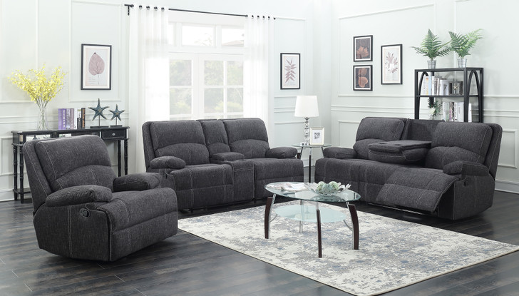Boston 3 Pcs. Power Reclining Sofa Set (Memory Foam inside) - Grey Fabric