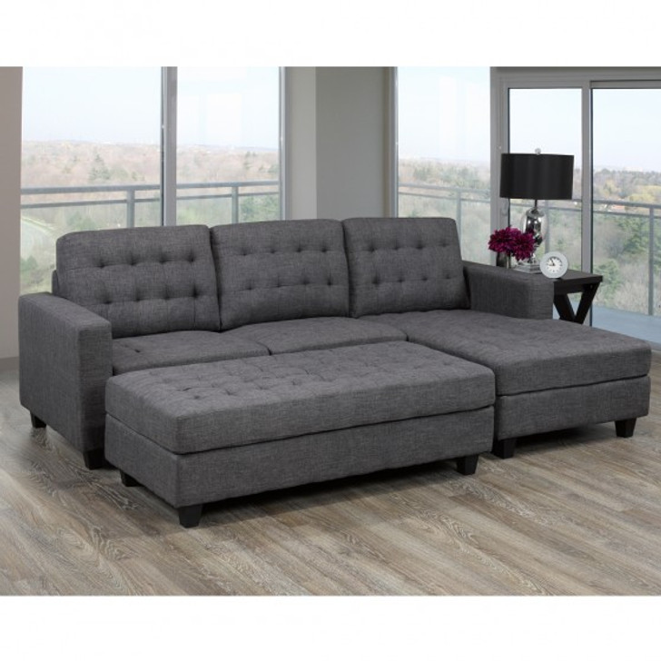 Antonio Sectional w/ Storage Ottoman - Right Side Chaise