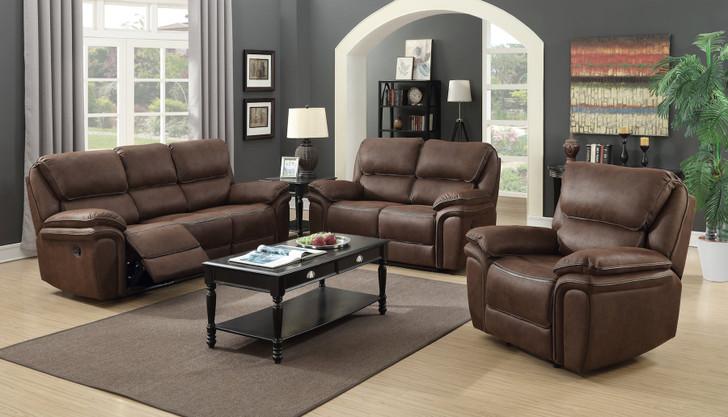 Moy 3 Pcs. Power Recliner Sofa Set  - Brown (Micro-Fibre)
