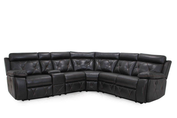 9207 7 Pcs. Power Recliner Sectional - Black Leather-aire