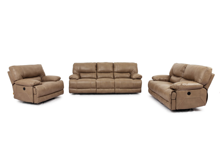 9509 3 Pcs. Power Recliner Sofa Set  - Taupe (Sofa, Loveseat and Chair)