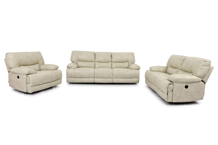 9509 3 Pcs. Power Recliner Sofa Set  - Ivory (Sofa, Loveseat and Chair)