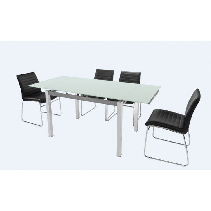 DT1012 Dining Table w/ Extension and 4 Chairs (Black or White)
