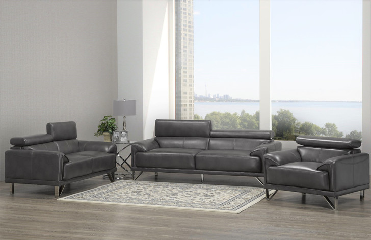 Montreal 3 Pieces Sofa Set - Sofa, Loveseat and Chair (Grey)