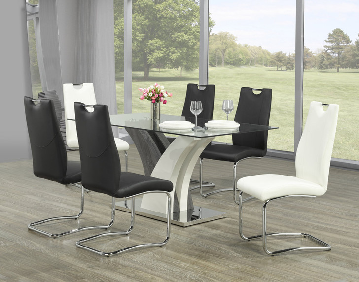 Gerome Dining Table Set - Grey/Champagne