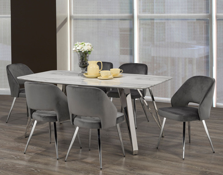 Palencia Marble Touch Dining Table Set - 7 Pieces (Grey)