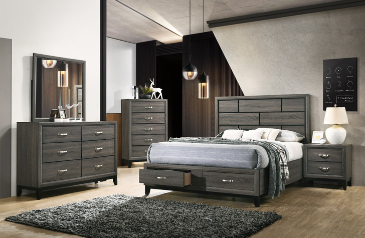 Suzan Grey Bedroom Suite with Storage -  Queen and King Size