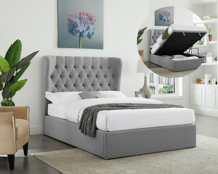 Tuscany Light Grey Gas Lift Bed  - Queen and King Size