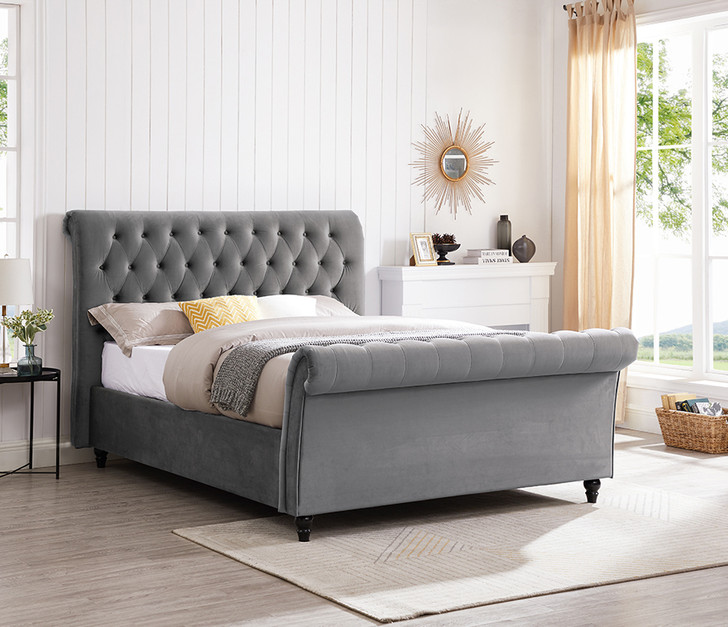 Texan Grey Velvet Bed  - Queen Size